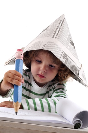 Boy with paper hat