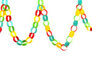 Handmade paper chain guirlande isolated over white